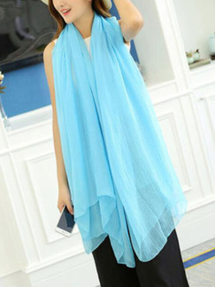 Blue Chiffon See-Through Sun Protection Polyester Scarf