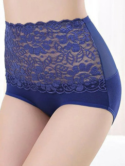 Blue Linking Lace Seamless Abdomen  Polyester and Elasticity Panty