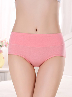 Pink Plus Size Medium Waist Broadside Brief Polyester and Elasticity Panty