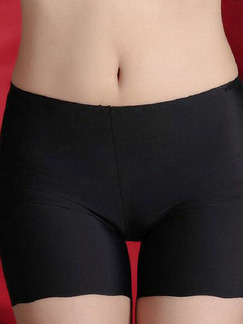 Black Pure Color Boxer High Waist Polyester and Elasticity Panty