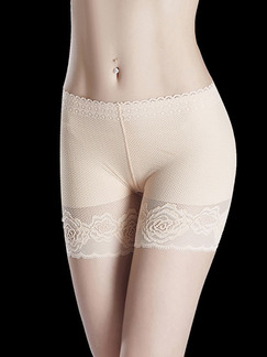 Beige Lace Lift-Hip Boxer High Waist Polyester and Elasticity Panty