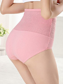 Pink High Waist Lift-Hip Briefs Polyester and Elasticity Panty