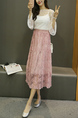 Pink Pleated  Adjustable Waist Lace Mesh Skirt for Party Evening Semi Formal