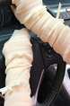Beige Women Outdoor Driving Riding Sun Protection Butterfly Knot Polyester Arm Sleeves