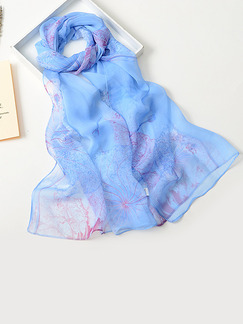 Blue Women Contrast Lotus Sun Protection  Polyester Scarf
