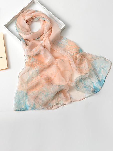 Peach and Blue Women Contrast Lotus Sun Protection  Polyester Scarf