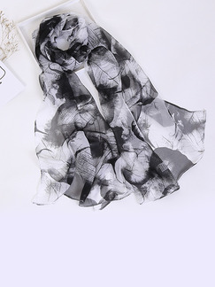 Black and White Women Contrast Printed Sun Protection  Polyester Scarf
