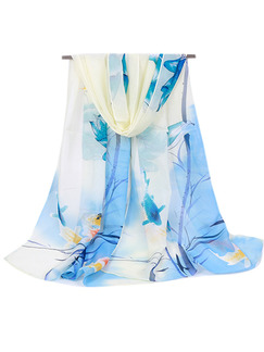 Blue and White Women Contrast Printed Sun Protection  Polyester Scarf