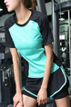 Black Blue Green Women Slim Plus Size Contrast Linking Obscure Round Neck Quick Dry  Top for Casual Sports Fitness