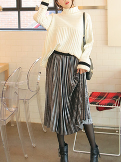 Grey A-Line Adjustable Waist Full Skirt Glossy Pleated Skirt for Casual Office