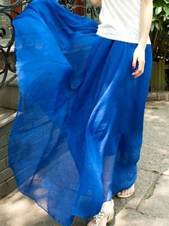 Blue Multi-Wear Adjustable Waist Full Skirt  Skirt for Casual Beach