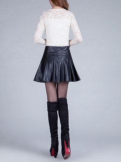 Black Slim A-Line High Waist Umbrella Skirt for Casual Party