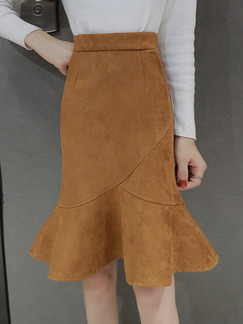 Brown Slim Fishtail Over-Hip High Waist Zipper Back Skirt for Casual Office Evening