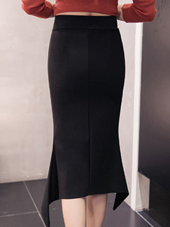 Black Plus Size Slim Over-Hip High Waist Fishtail Skirt for Casual Office Evening