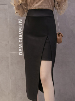 Black Slim High Waist Over-Hip Furcal  Skirt for Casual Office Evening