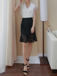 Black Slim Lace Over-Hip High Waist Fishtail Skirt for Casual Office Evening