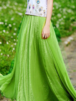 Green Multi-Wear Adjustable Waist Full Skirt  Skirt for Casual Beach