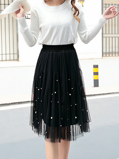 Black Loose A-Line Mesh Bead Adjustable Waist High Waist Skirt for Casual Party