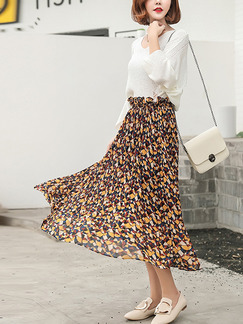 Colorful Chiffon Loose A-Line Printed Laced Adjustable Waist Skirt for Casual