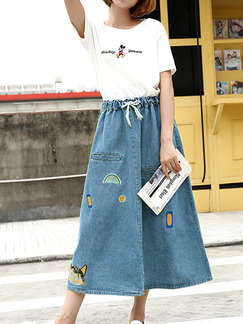 Denim Loose A-Line Adjustable Waist Band Belt Located Printing Skirt for Casual