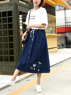Blue Denim Loose A-Line Adjustable Waist Band Belt Located Printing Buttons Skirt for Casual