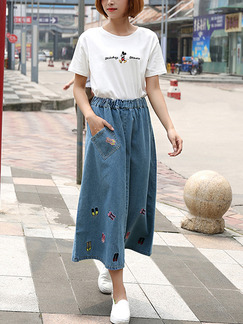 Blue Denim Loose A-Line Adjustable Waist Located Printing Pocket Skirt for Casual