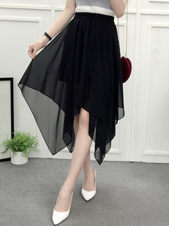 Black Slim Chiffon High Waist Asymmetrical Hem Adjustable Waist Skirt for Casual Party Evening