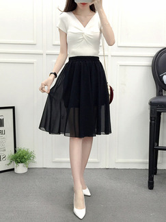 Black Slim A-Line Chiffon Adjustable Waist High Waist See-Through Skirt for Casual Party Office Evening