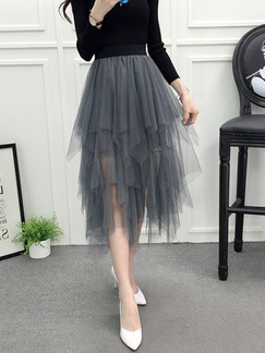 Gray Slim Mesh Asymmetrical Hem See-Through Adjustable Waist Skirt for Casual Party
