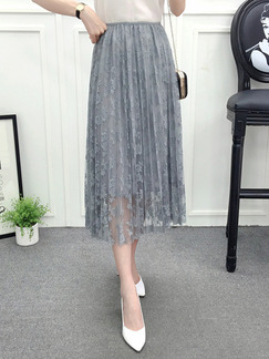 Grey Slim A-Line Hook Flower Cutout Lace Adjustable Waist Skirt for Casual