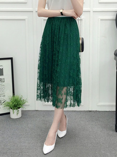Green Slim A-Line Hook Flower Cutout Lace Adjustable Waist Skirt for Casual