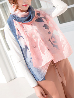 Blue and Pink Gradient Cutout Cut Flowers Sun Protection Polyester Scarf