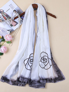 Black and White Satin Ink Painting Windproof Polyester Scarf