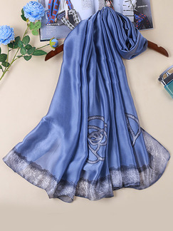Blue Satin Ink Painting Windproof Polyester Scarf
