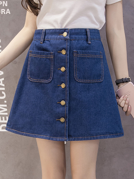 Blue Denim Plus Size Slim A-Line Single-Breasted Pockets Skirt for Casual