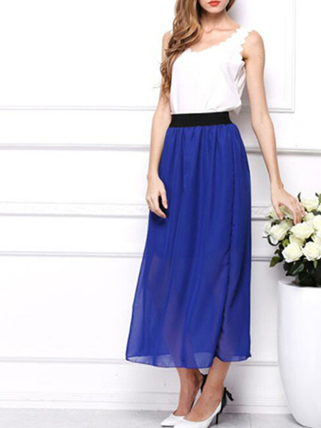Blue Chiffon Loose Adjustable Waist Double Layer See-Through Skirt for Casual Party