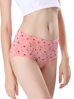 Pink Colorful Printed Briefs Cotton Panty