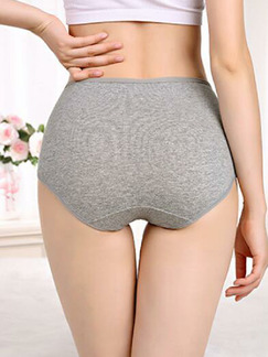 Gray Printed High Waist Briefs Cotton Panty