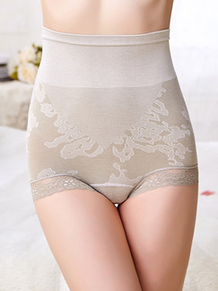 Light Gray High Waist Lace Boxer Cotton and Elasticity Panty