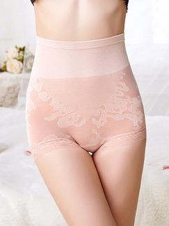Light Pink  High Waist Lace Boxer Cotton and Elasticity Panty