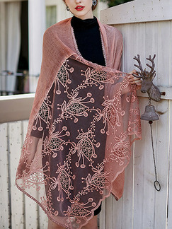 Pink Vintage Lace Tie-Dye Cotton and Linen Scarf