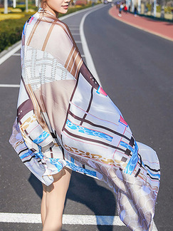 Colorful Long Printed Sun Protection Polyester Scarf