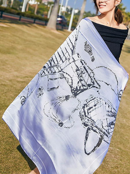 Blue and Black Long Printed Sun Protection Polyester Scarf