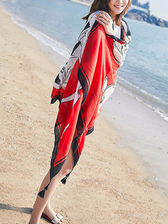 Red White and Black Long Printed Hang Beard Sun Protection Polyester Scarf