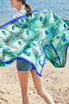 Blue and Green Long Printed Sun Protection Polyester Scarf