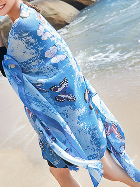 Blue Long Printed Hang Beard Sun Protection Polyester Scarf