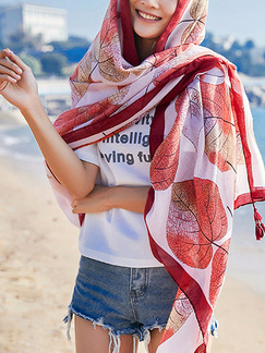 Red and White Printed Tassel Cotton  Scarf