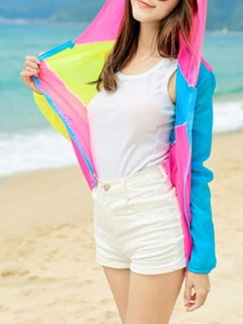 Yellow Pink and Blue Contrast Linking Hooded See-Through Sun Protection Long Sleeve Coat for Casual and Beach