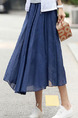 Blue Loose Pleated A-Line Full Skirt Adjustable Waist Skirt for Casual Party