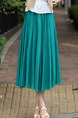 Blue Green Loose Pleated A-Line Full Skirt Adjustable Waist Skirt for Casual Party